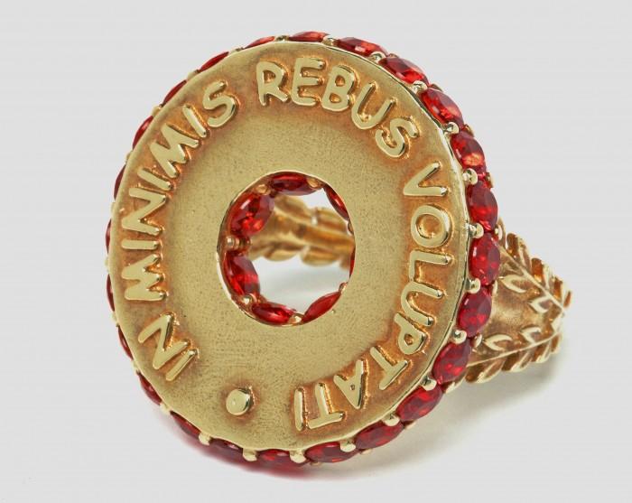 Stenmark Latin Motto orange sapphire ring