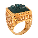 green agate basket-weave ring