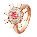 Sun Ray Ring - Pink Gold, Diamonds & Pink Sapphire