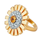 Sunray Ring - Yellow Gold, Diamonds & Yellow Sapphire