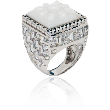 white opal and white sapphires basket-weave ring