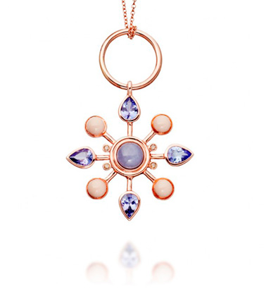Colourburst Pendant - 14 karat pink gold, tanzanite, lavender jade, cognac diamonds and enamel, 35mm