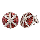 Stenmark: Snowflake Earrings - white gold, red sapphires and diamonds