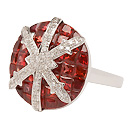 Stenmark: Snowflake Ring - white gold, red sapphires and diamonds